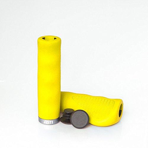 Asti Patented ISO-PRENE Rubber Foam Mountain Bike Grips | Comfortable & Heavy Duty Handlebar Grip Set | Odorless, Hypoallergenic & Secure MTB Bicycle Gripping Cushions | Flexible Design (Pro Grip Foam)