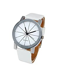 [Men's Watch, White] Franterd 1PC Men Quartz Dial Clock Round Case Clock Leather Wrist Watch