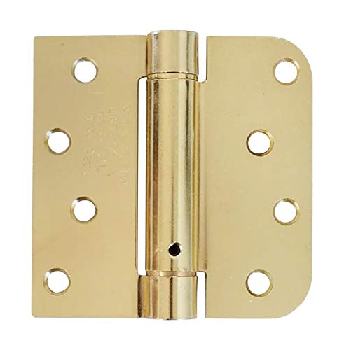 Hinge Outlet Spring Self-Closing Hinges, 4 Inch Square with 5/8 Inch Bright Brass, Adjustable Door Closing, 2 Pack