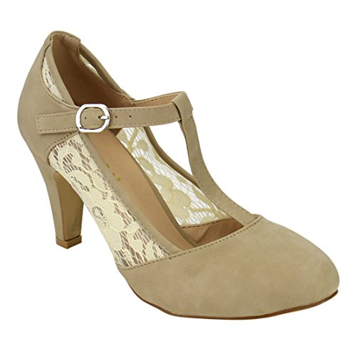 Floral Leather Heels (Beston DE31 Women's Floral Lace T-Strap Buckle Strap Mary Janes Dress Pumps, Color:NUDE, Size:8)