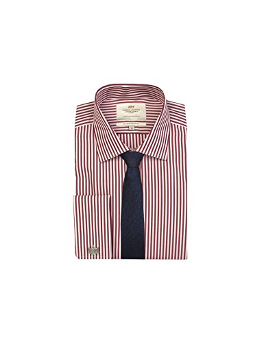 HAWES & CURTIS Mens Red & White Bengal Stripe Slim-Fit Cotton Shirt - Double Cuff Bengal Stripe Button Cuff Dress Shirt