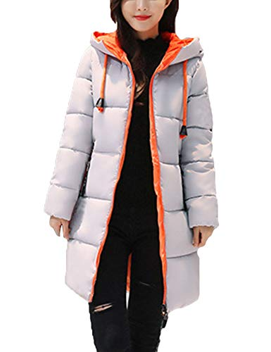 BESBOMIG Coat Fashion Grey Coat Outerwear Cotton Hooded Jacket Quilted Long Women Slim Soft Fabric Winter r4fOrq