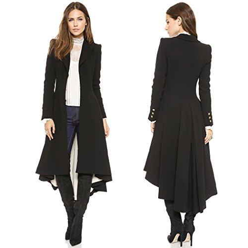 Femme Manteaux Uniforme Stailpunk Trench Longue Manteau Veste Noire Cosplay mioim Carnaval avec Punk Gothique Costume cYfvd0qwfA