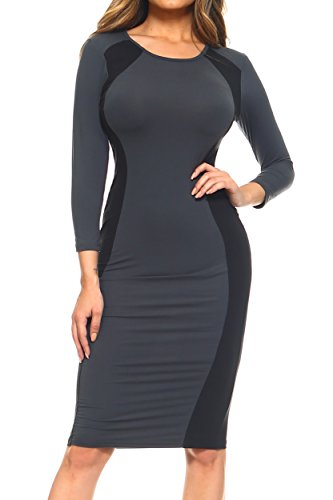 ICONOFLASH Women's 3/4 Sleeves Colorblock Bodycon Midi Dress with Two-Tone Side Panel Contour (Black, 3XL)