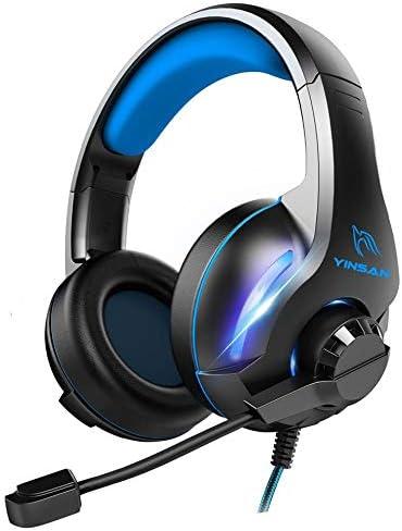 Auriculares Gaming para PS4 Xbox One,BICASLOVE Cascos Gaming Premium Estéreo con Micrófono,Luces LED y Orejeras de Memoria Suave,Gaming Headset con Control de Volumen para PC/Nintendo Switch/Mac