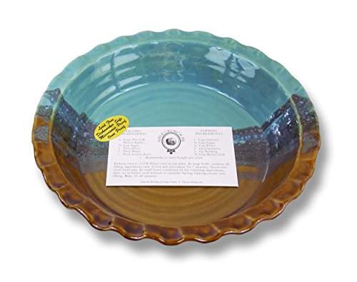 Clay In Motion Handmade Ceramic Deep Dish Pie Plate - Ocean Tide