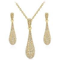 Gold Full Crystal Rhinestone Gem Tear Drop Pendant Necklace Earrings Jewelry Sets