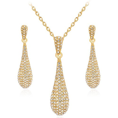 Gold Full Crystal Rhinestone Gem Tear Drop Pendant Necklace Earrings Jewelry Sets (Style01) ()