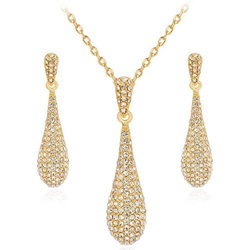 Gold Full Crystal Rhinestone Gem Tear Drop Pendant Necklace Earrings Jewelry Sets ()