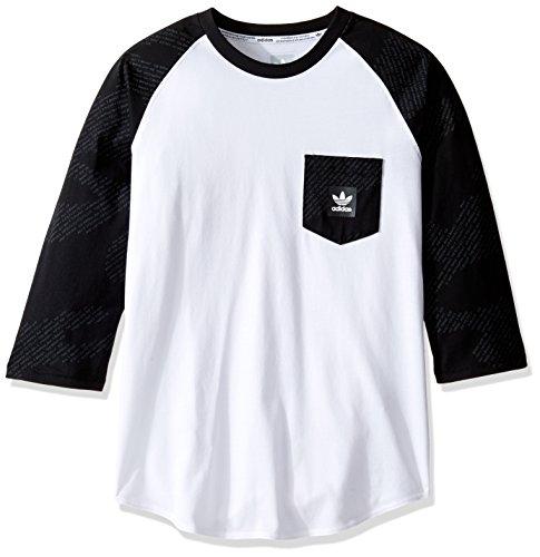 adidas Originals Men's Skateboarding Word Camo Raglan Tee, Black/Dark Grey/White, Large