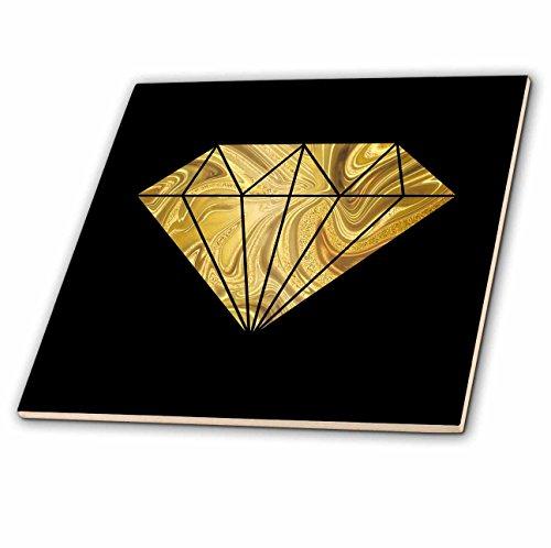 3dRose Andrea Haase Illustration - Image of Glamorous Golden Marble Diamond On Black - 4 Inch Ceramic Tile ()