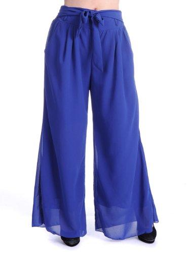 Anna-Kaci S/M Fit Blue Palazzo Wide Leg Style Tie Waist Chiffon Overlay Pants