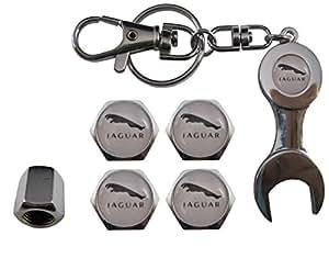 ETMA Valvulas de Acero Inoxidable para Coche + Llavero Jaguar Blanco aut011-37