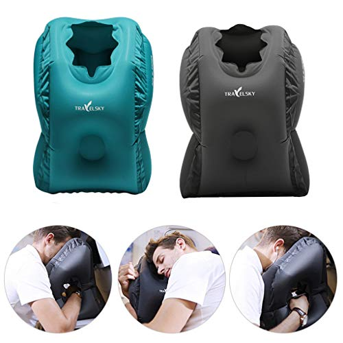 EnjoCho Travel Pillow Inflatable Pillows Air Soft Cushion Trip Portable Innovative Products Body Back Support Foldable Blow Neck Pillow (Black) by EnjoCho (Image #7)