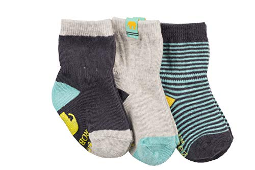 Robeez Baby Boys 3-Pack Socks, Eli Elephant Navy/Aqua/Grey, 0-6 months