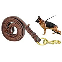 Fairwin Braided Real Leather Dog Leash 6 Feet K9 Walking Training Leads for German Shepherd