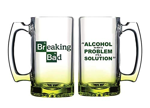 (Sony Pictures Television Breaking Bad Giant 2.5 Pint Beer Glass - Alcohol is Not The Problem. It is a Solution 2kg / 4.4lb)
