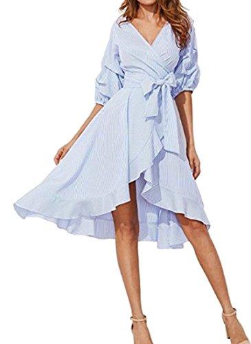 Blue Cromoncent 4 Neck Women's Summer Tunic Sleeve Ruffled 3 V Fashion Dresses Stripe Belted OHOrwYq