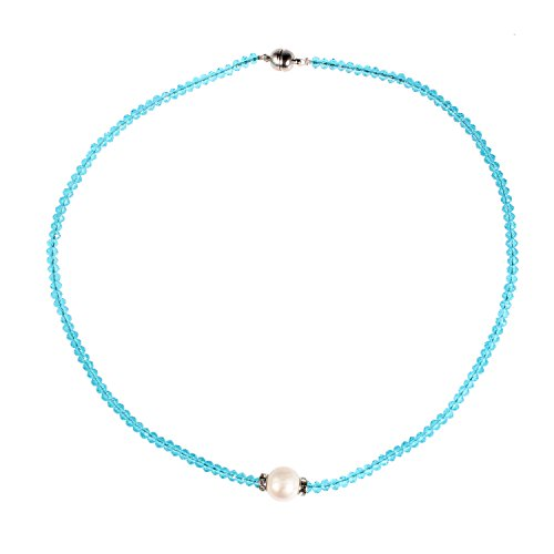- Bonnie Gemstone Pearl Choker Necklace Single Pearl Necklace Freshwater Pearl Jewelry (Blue)