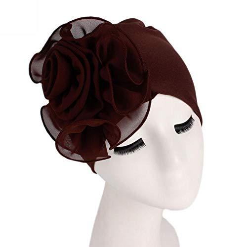 PIKAqiu33 Women Flower Elastic Turban Beanie Head Wrap Chemo Cap Turban Brim Hat (Coffee)