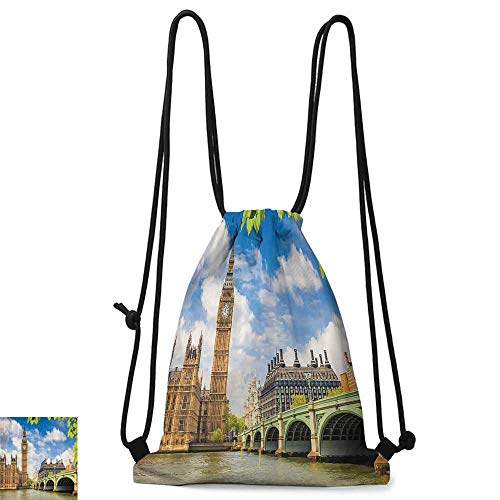 Portable backpack London Decor Collection Historical Architecture Big Ben and Westminster Bridge Seen behind Fresh Spring Leaves Picture W14