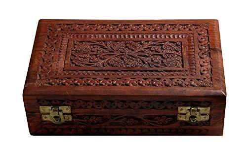 Artisans Of India Handmade Wooden Jewelry Box/Ring Box/Watch Box/Keepsake Trinket Organiser (Design 1) from Artisans Of India