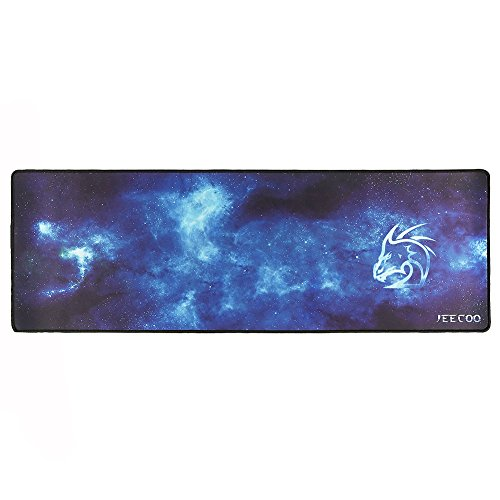 Jeecoo Extended Gaming Mouse Pad and Keyboard Pad with Stitched Edges, Rubber Base Mouse Mat, 36x12x0.12 inches (XX - Large)