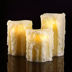 "Antizer Flameless Candles 4"" 5"" 6"" Set of 3 with Heavy Drip Modelling Ivory Color Real Wax Pillars Include Realistic Flicker LED Flames and 10-key Remote Control with 24-hour Timer Function"