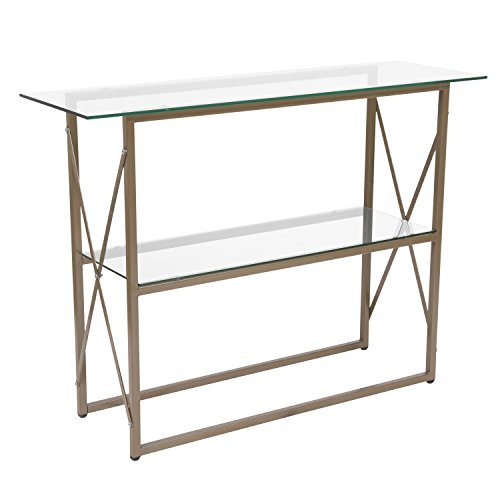 Flash Furniture Mar Vista Collection Glass Console Table with Matte Gold Frame , Clear/Matte Gold - NAN-JH-1796ST-GG (Foyer Table Metal)