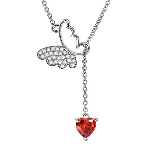 (Aurora Tears Butterfly Lariat Y-Necklaces 925 Sterling Silver Women Crystal Heart Pendants Charm Red-Garnet January-Stone Birthstone Gift CZ Animal Girls Dating Present DP0115J)