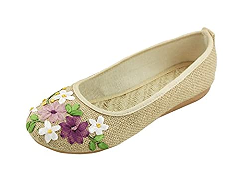 Freerun Women's Autumn Slip-on Embroidered Flower Breathable Loafer Shoes (7.5 B(M)US,beige) (Rugged Bear Plush)