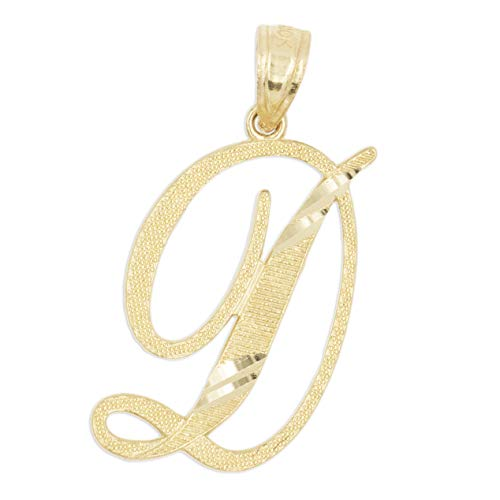 Ice on Fire Jewelry 14k Solid Real Gold Cursive Initial Pendant, English Alpahbet A-Z Letter Charm with Diamond Cut (D)