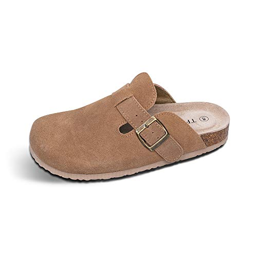 TF STAR Unisex Boston Soft Footbed Clog Suede Leather Clogs, Cork Clogs Shoes Women Men,Tan,9 US Women/7 US Men by TF STAR