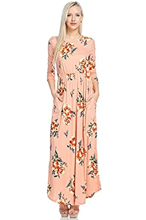 reborn j floral maxi dress with pockets long sleeve
