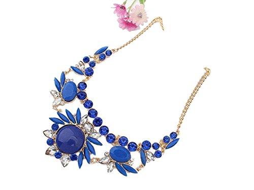 Ocaler®Womens Fashion Mixed Crystal Irregular Bubble Bib Choker Statement Necklace Pendant Chain (Sapphire Blue)