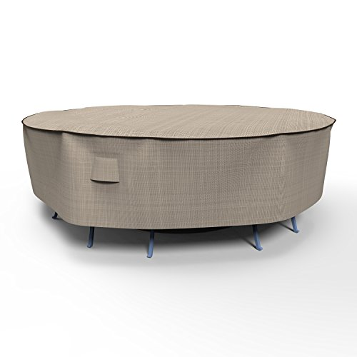 Combo Cover 30 Inch Drop - EmpirePatio P5A02PM1 Tan Tweed Large Round Table and Chair Combo Cover