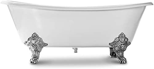 MAYKKE Katharine 70 Oval Clawfoot Bath Tub White Cast Iron Slipper Bathtub with Feet in Chrome Finish for Bathroom Drain and Overflow Assembly Included, cUPC Certified BQA1017001