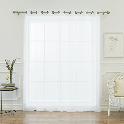 Best Home Fashion Wide Width Crushed Voile Sheer Curtain - Antique Bronze Grommet Top - White - 80