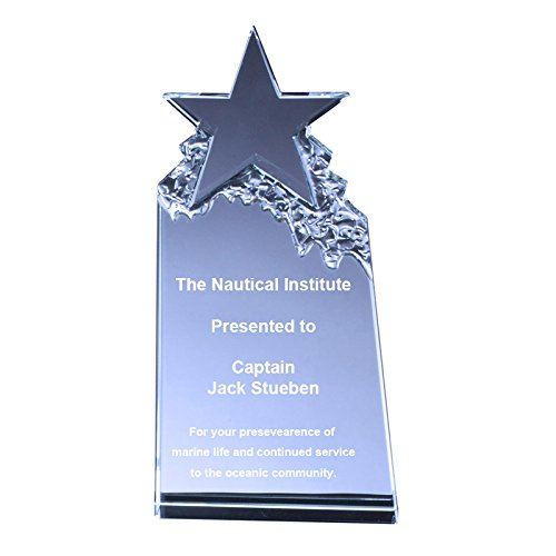 Customizable 7 Inch Optical Crystal Tower Star Award, includes Personalization