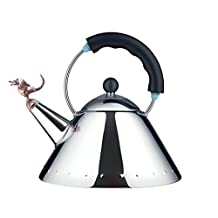 "Alessi ""Tea Rex"", Kettle in 18/10 Stainless Steel Mirror Polished With Handle And Prehistoric Reptilian Whistle in Pa, Black"