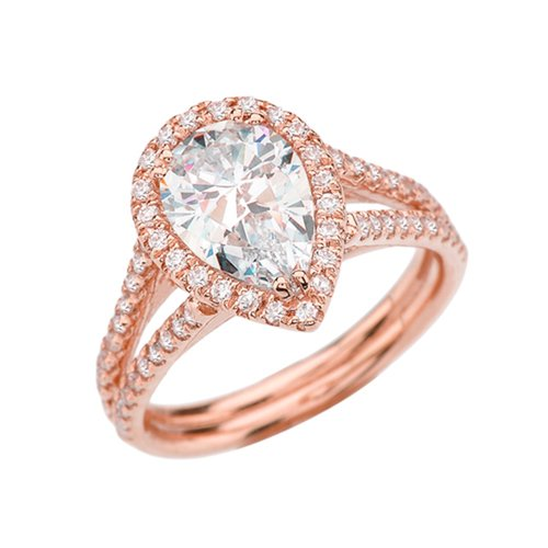 Pear Shape Center - 10k Rose Gold Diamond Halo Elegant Proposal Ring With CZ Pear Shape Center Stone (Size 6)