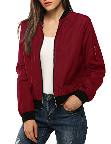 Zombie Outfits For Ladies (Zeagoo Womens Lightweight Classic Biker Quilted Jacket Short Bomber Jacket Coat, Wine Red,)