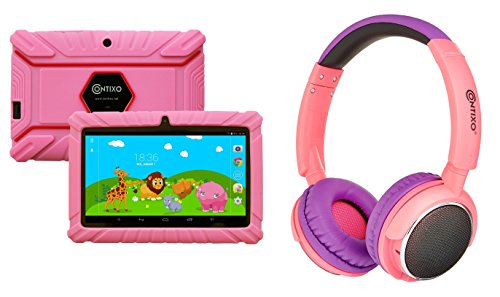 Contixo 7 Educational Learning Kids Tablet 8gb & Kid Safe 85db Bluetooth Over The Ear Headphones Bundle (Pink) - Best Gift by Contixo