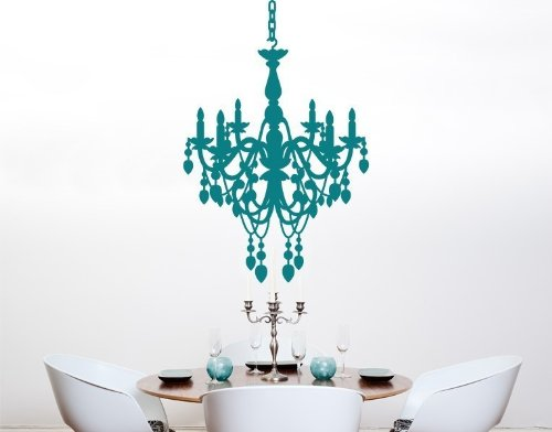 Chandelier Wall Decal by Style & Apply - highest quality wall decal, sticker, mural vinyl art home decor - 3855 - Turquoise, 24in x 36in