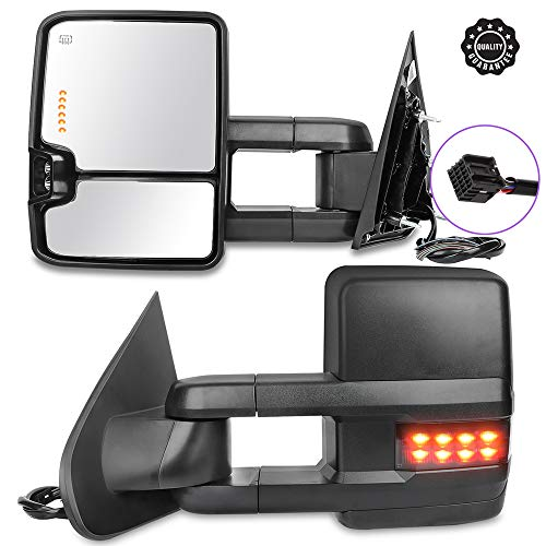 INEEDUP Tow Mirrors Rearview Mirrors Fit for 2014-2017 Chevy Silverado 1500 GMC Sierra 1500 Chevy Silverado/GMC Sierra 2500 HD 3500 with Left Right Side Power Operation Heated with Turn Signal Light