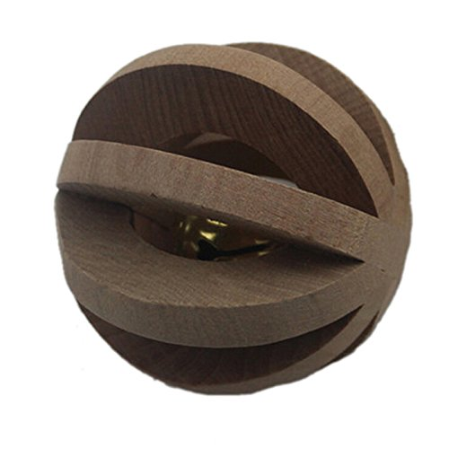 Yunt Rabbits Guinea Pig Hamster Rat Ferret Chinchilla Wooden Interactive Toys Small Animal Toy Ball with Bell (Ball Fantastic Ferret)