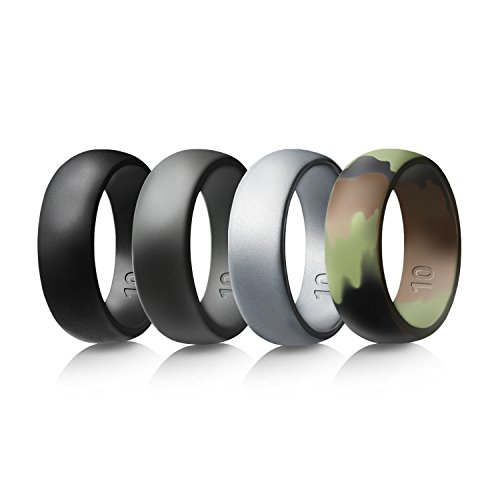 Egnaro Silicone Wedding Rings For Men,Size 8-12,4 Rings Pack-Black,Silver,Dark Grey,Army camo
