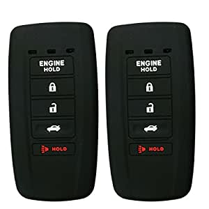2Pcs Coolbestda Silicone 5 Buttons Smart Key Skin Jacket Fob Cover Case Remote Keyless Entry Protector for ACURA MDX RDX RLX ILX TLX KR537924100 Key Black