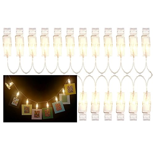 SAIKA 2 Meter LED String Lights with 20 Photo Clips Using AA Batteries as Energy Sources, Perfect for Hanging Picture/Instant Camera Film Indoor, Halloween Christmas (Warm) -