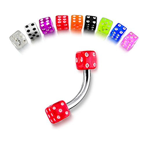 (16Gx3/8 (1.2x10MM) 316L Surgical Steel Banana with 3MM UV Dice Eyebrow Rings - 10 Pieces Assorted Color as Show)